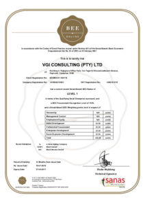 Certificate - VGI Consulting (Pty) Ltd BE8460-R1-180716